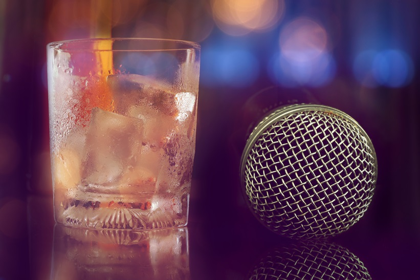 microphone in bar for karaoke, nightlife.