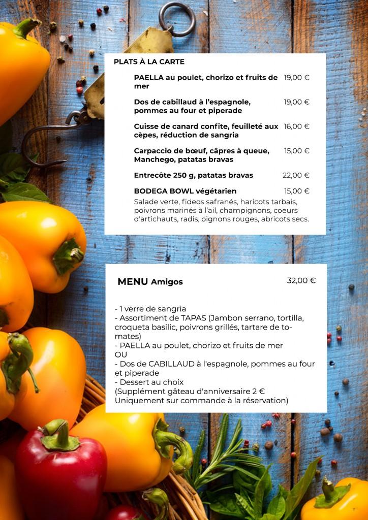 plats à la carte et menu amigos